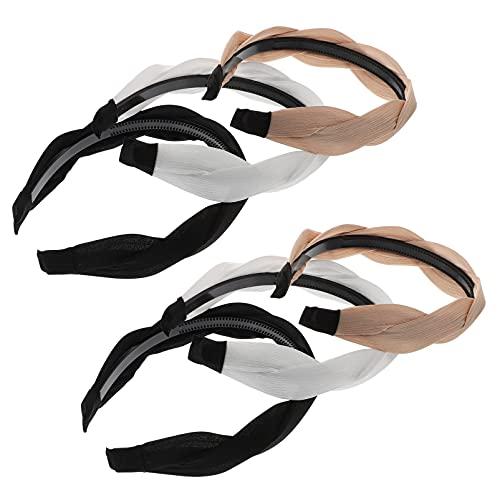 Minkissy 6 Piezas de Diadema Ancha Trenzada Anudada Tejedora Vintage Trenzada Aro de Pelo Anudado para Mujeres Niñas Accesorio para El Cabello