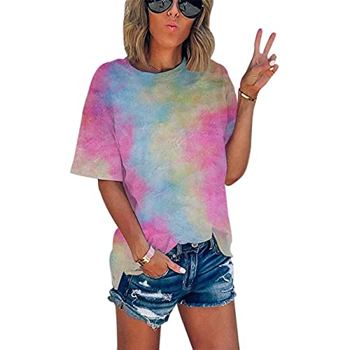 SLYZ Camiseta De Cuello Redondo con Estampado Digital Tie-Dye De Verano para Mujeres Europeas Y Americanas Camiseta Suelta De Verano De Manga Corta para Mujeres