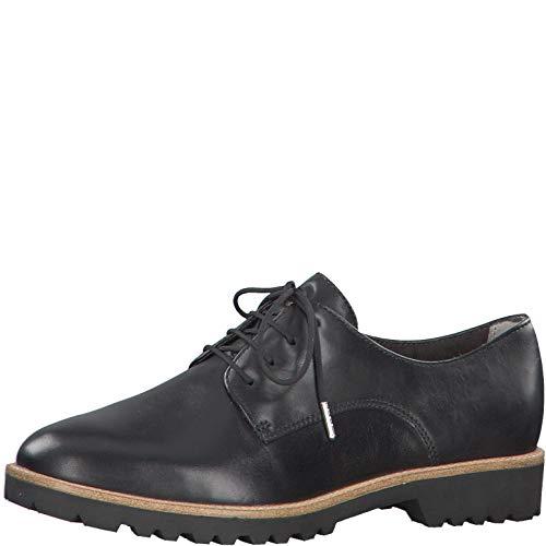 Tamaris Damen Schnürhalbschuhe 23208-24, Frauen Businessschuh, schnürschuh schnürer klassisch elegant Damen Frauen,Black Leather,39 EU / 5.5 UK