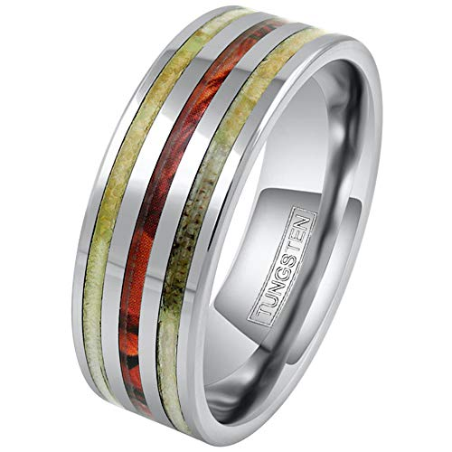 King's Cross Beautiful Unique 8mm Silver Tungsten Carbide Band Ring w/Deer Antler & Red Leaf Camo Inlays. (11)
