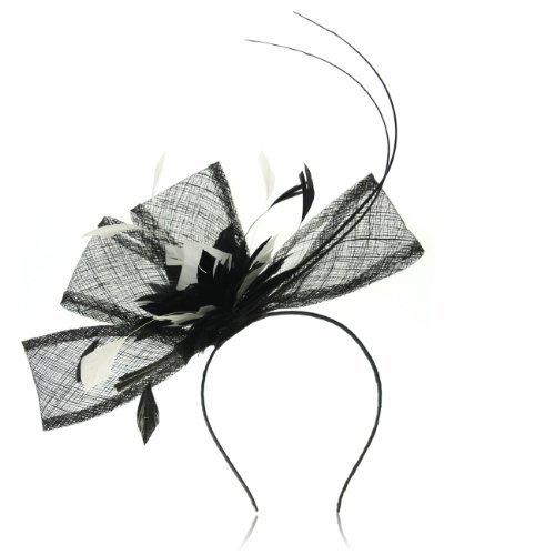 Janeojewels Fascinators Superbe Occasion Chapeaux pour Femme, Plumes Floral nœuds Bibi en Un Classique Noir et Blanc Couleur Combo, avec élégance, Dominant la courbure Motif.