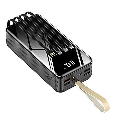 LIMIAO Caricabatterie USB Portatile Power Bank 40000-80000Mah Cavi di Ricarica Incorporati, Carica 8 Dispositivi Contemporaneamente, Ricarica Rapida Batteria di Grande capacità,Nero,60000mah