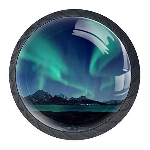 Pomelli in vetro di design per armadi, cassetti e armadi, maniglie per mobili, per decorare la casa, bellezza, gatto, pesce, unicorno., Verde aurora, 3.5×2.8CM/1.38×1.10IN