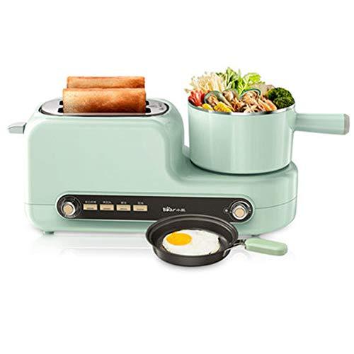 Draagbare 5-in-1 multifunctionele broodrooster, thuis 2-delige broodrooster met mini roestvrijstalen koekenpan Zes kramen Onafhankelijke temperatuurregeling voor omelet, eierkoker, toast