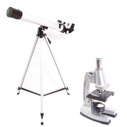 DynaSun TWMP0406 Set de Estudiante de Ciencias Avanzado Telescopio y Microscopio de la Escuela de Descubrimiento mag:900x