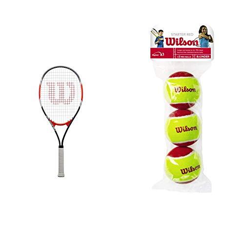 Wilson Tennisschläger Fusion XL, für Anfänger und Freizeitspieler, schwarz/rot, WRT30270U3 & Tennisbälle Starter Red für Kinder, gelb/rot, 3er Pack, WRT137001