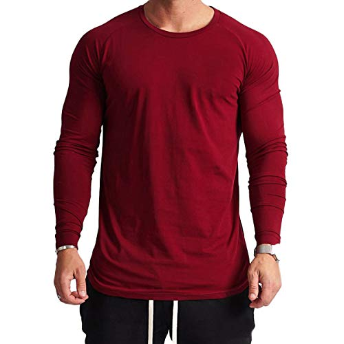 Magiftbox Mens Lightweight Cotton Workout Long Sleeve T-Shirts Essential Training Tee T23_Red_US-L