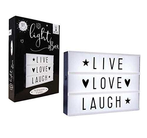 LIFA LIVING LED-Lichtbox | Dekorative Lampe mit Symbolen | 85 austauschbare Buchstaben | Batteriebetrieb Deko Lampe Lightbox mit weißem Licht