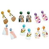 1/6 pares de pendientes colgantes de pintura al óleo pintados divertidos en 3D para mujer, pendientes colgantes de acrílico coloridos, pendientes creativos, regalo de joyería