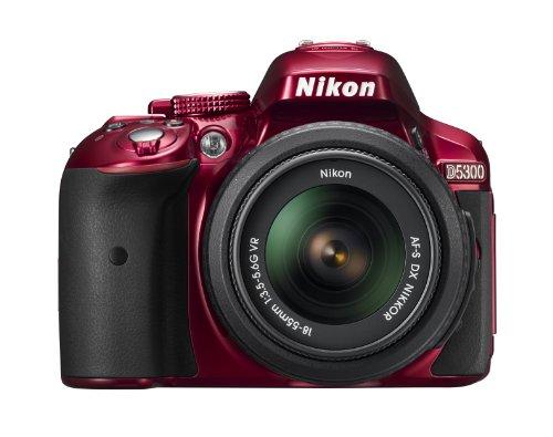 Nikon D5300 SLR-Digitalkamera (24,2 Megapixel, 8,1 cm (3,2 Zoll) LCD-Display, Full HD, HDMI, WiFi, GPS, AF-System mit 39 Messfeldern) Kit inkl. AF-S DX 18-55 VR Objektiv rot