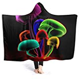 Boys Girls Wearable Blanket, Colorful Trippy Mushroom Neon Psychedelic Shroom Glow Hooded Blanket, Easy Care Winter Flannel Fleece Blankets for Outside, Study, 60 x 50 inch