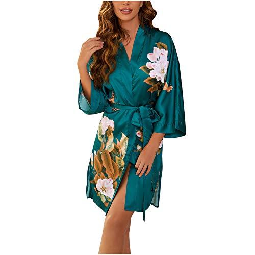 Damen V-Ausschnitt Langarm sexy Spitze-up Blumendruck Kimono Nachtkleid Nachtwäsche Satin Silky Nightgown,Frauen Langer Schlafanzug Kleid Nachthemd, Morgenmantel Damen Robe Reizwäsche Cardigan