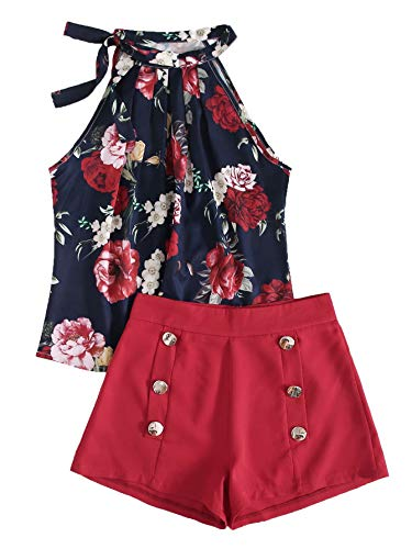 SweatyRocks Women's Floral Printed Summer Romper Boho Beach 2 Piece Outfits Top with Shorts Navy Red Medium
