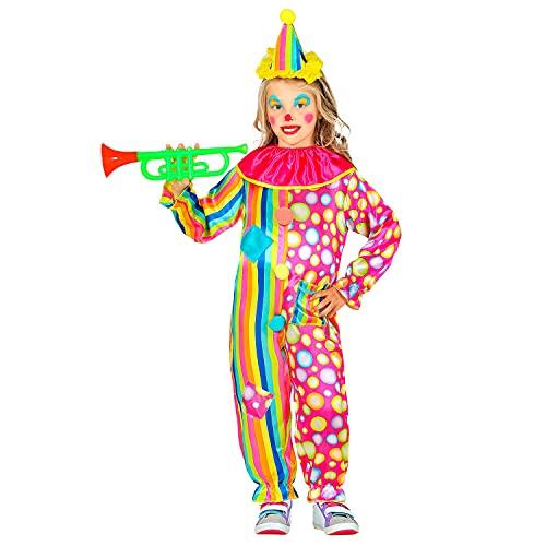 Widmann 52506 52506 Costume de clown avec col et mini chapeau pour enfant Multicolore 128 cm 5-7 ans