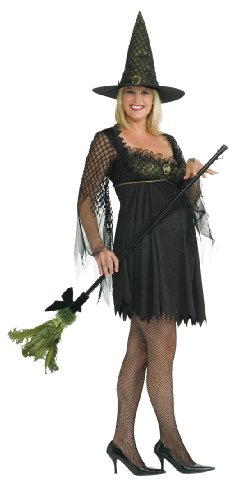 Mommy To Be Funny Witch Costume, Black