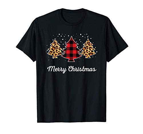 Merry Christmas Buffalo Plaid Leopard Print Pajamas Maglietta