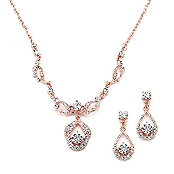 Mariell 14K Rose Gold Vintage Crystal Necklace and Earrings Jewelry Set for Prom Bridal and Bridesmaids