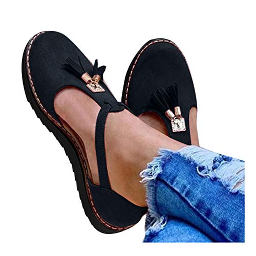 Why Should You Buy kaifongfu Womens Loafers Sandals Classic Round Toe Flat Shoes Tassel Thick Bottom...