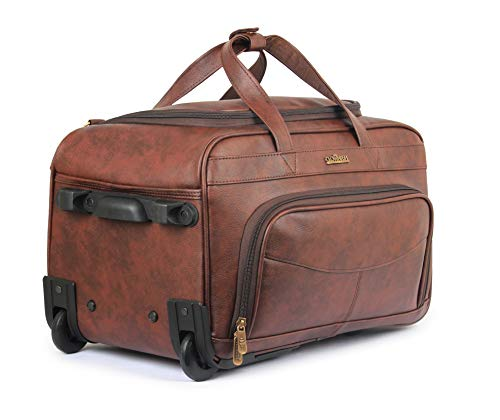 Rolling Duffel Bag 40 ltrs Vegan Leather Wheeled Travel Duffel Rolling Duffle Bag Layover Travel Bag Luggage with Wheels (Cinnamon)