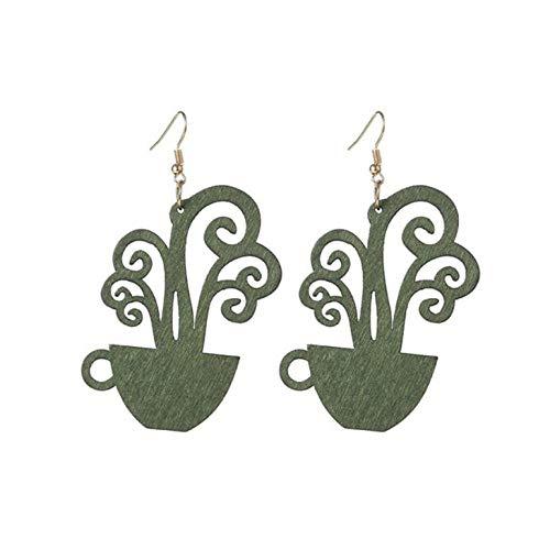 Empty dames houten kunstplant bloempot lange hangoorbellen sieraden grote oorbellen voor vrouwen