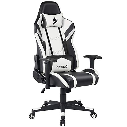 DESINO Gaming Chair Racing Style Ergonomic Swivel Rolling Computer Chair Video Game Desk Chair with Headrest and Adjustable Lumbar Support for Adults (Black)