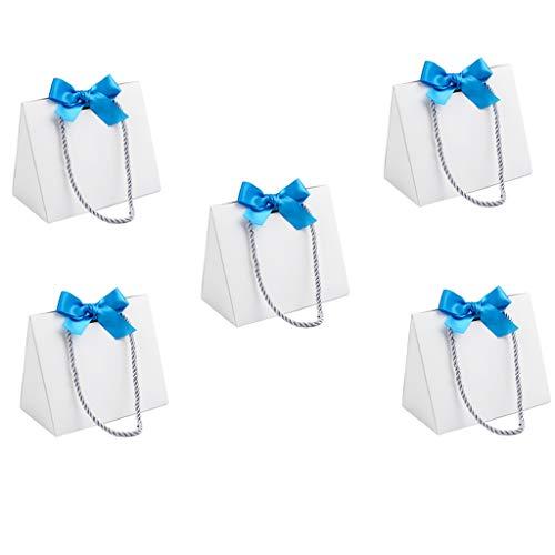 sharprepublic 5er Weiße Geschenktüten, Bodenpapiertüten, Bodentaschen Blauer Schleife mit Tragegriff Partyevents-Tasche Allezweck