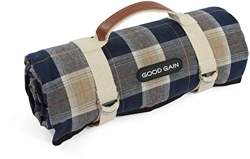 Good Gain Picnic Blanket Waterproof, Beach Blanket Portable with Carry Strap Outdoor Camping Party, Large Foldable Sand Proof for Wet Grass Hiking or Kids Playground Picnic Mat