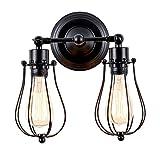 Huahan Haituo industriale Edison retrò Vintage Lampada plafoniera con 1/2/3/4/5 luci retrò rustico Applique Applique (nero, 2 luce)