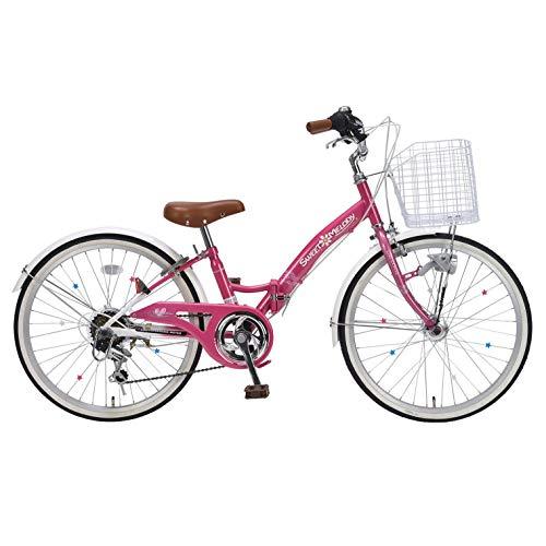 マイパラス(Mypallas)ジュニアサイクル 子供自転車 22インチ シマノ製6段変速 便利な折畳機能付 小学生 女の子用 LEDオートライト セミアップハンドルで乗りやすい! ワイヤーバスケット リング錠 スポークデコレーション付 おしゃれな2色カラー