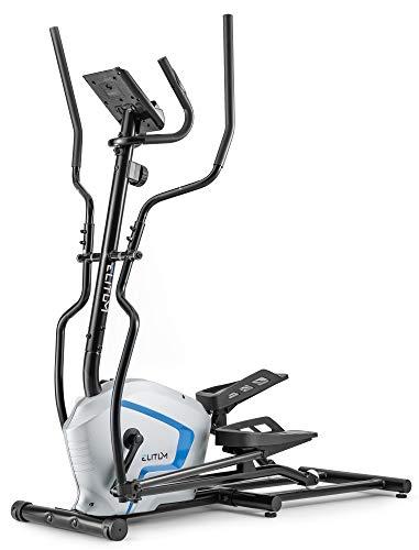 Elitum Crosstrainer MX500 Nordic Walking Ellipsentrainer bis 120 kg Pulssensoren Schwungmasse 13kg 8-Fach Verstellbare Widerstandsregelung Silber