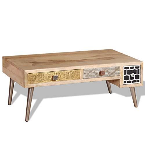 vidaXL Solid Coffee Side Table Living Room Retro Mango Wood 105 x 55 x 41 cm, Multicoloured, One Size