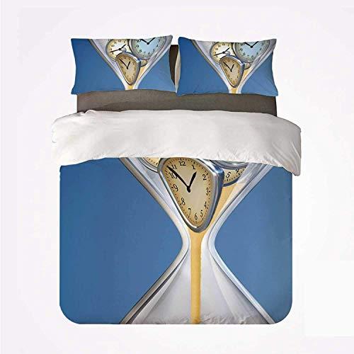 Juego de Funda nórdica Clock Decor Soft Juego de Cama de 3 Piezas, Relojes de Arena con Decoraciones de Arena para el hogar Un diseño Vintage para el Dormitorio