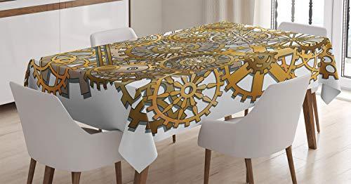 ABAKUHAUS Klok Tafelkleed, Toestellen van Steampunk Ontwerp, Eetkamer Keuken Rechthoekige tafelkleed, 140 x 240 cm, Bleke Oranje Bruin