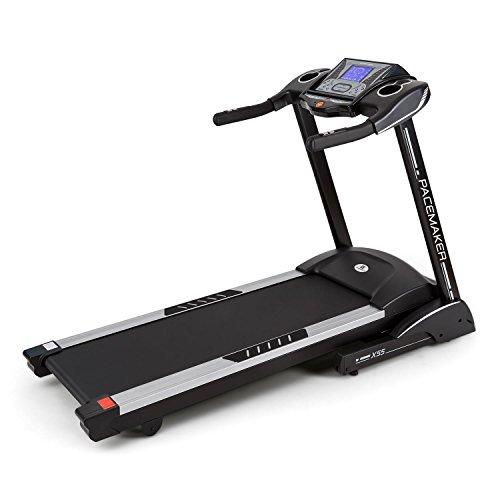 Capital Sports Pacemaker X55 - Tapis roulant, 2-22 km/h, LCD, 25 programmi, Misuratore d i impulsi, Radio, 1%-inclinazione del 16%, Altoparlanti integrati, Pieghevole Nero