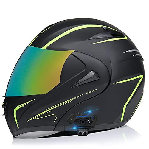 Cascos Bluetooth para motocicleta, casco modular integrado con Bluetooth, casco de motocicleta de cara completa, doble visera modular Bluetooth, casco aprobado por DOT/ECE 26, L = (57 ~ 58 cm)