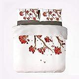 Juego de Funda nórdica Juego de 3 Camas cómodas de Rowan, Rama de Bayas de serbal con Salpicaduras de Acuarela Pantalla Floral Abstracta artística para Hotel