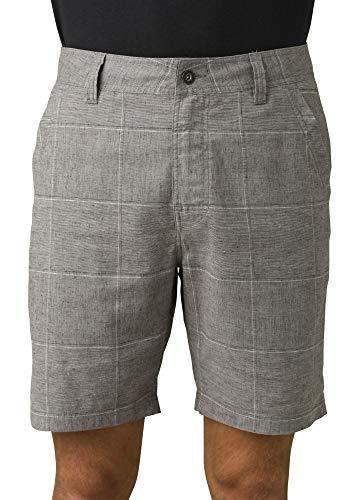 Prana Men's Furrow Short, Gravel Plaid, 34W x 8L