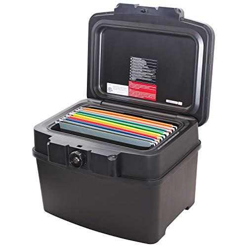 HMF - Caja para documentos resistente al fuego, impermeable, tamaño a elegir, DIN A4-A5, color negro 2504580