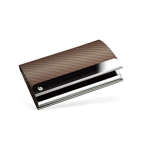 BRODI® Premium Visitenkarten-Etuis für eine besonders schonende Aufbewahrung - Hochwertiges Kartenetui aus Edelstahl mit Magnetverschluss   inkl. Geschenkbox   Visitenkartenhülle Leder (Braun)