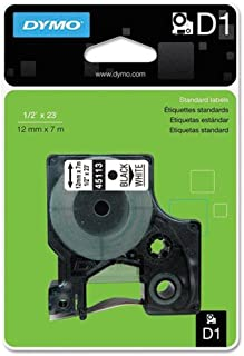 DYMO D1 涤纶可移除标签胶带,1.52 x 58.42 m,黑白色 (DYM45113)