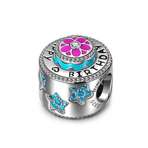 NINAQUEEN Charm für Pandora Charms Armband Geburtstag Geschenk für Frauen Silber 925 Zirkonia Antibakterielle Eigenschaften Schmuck Damen mit Schmuckkasten