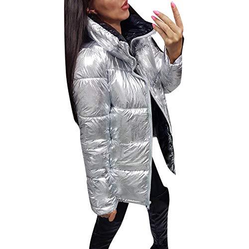 FRAUIT Silber Daunenjacke Damen Zipper Winterjacke Frauen Warme Tasche Outwear Langarm Reißverschluss Pullover Bluse Shirts Mantel