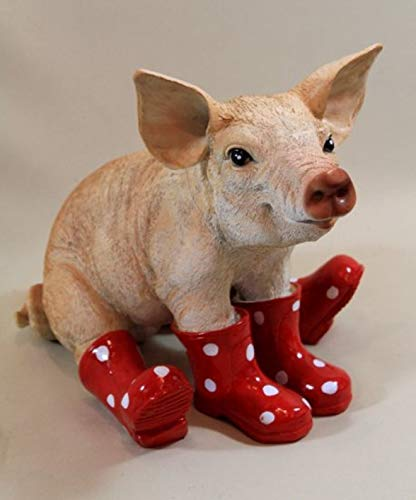 Vamundo Sitzendes Deko Schwein mit Gummistiefel rot # Ferkel # wetterfest