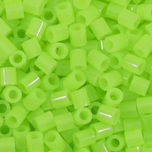 Vaessen Creative 5009-028 Bügelperlen, Neon Grün, 1100 Stück, Steckperlen zum Basteln mit Kindern, DIY Gestalten von Schmuck, Deko, Verzierungen und weiteren Bastelideen