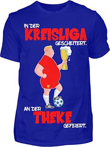 Kreisligahelden Thekenmeister Shirt - Kurzarm Shirt Baumwolle mit Motiv Aufdruck - Das Kreisliga Shirt für alle Kreisliga Fußballer und Fans (5XL, Blau)