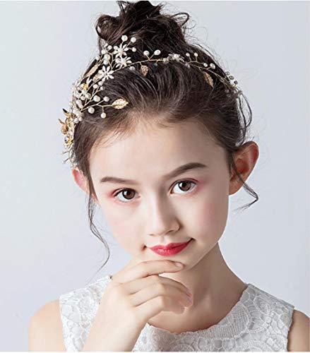 Meisjes Haarband Gouden Kinderprestaties Headdress Meisjes Zoete Kappers Jurk Accessoires Baby Verjaardag Hoofd Bloem Sieraden