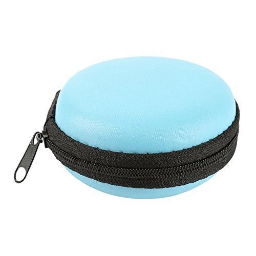 PPuujia Mini-Tragetasche mit Reißverschluss für Kopfhörer, Headset, Datenkabel, Aufbewahrungstasche für Kopfhörer, USB-Kabel-Organizer (Farbe: B Blau)