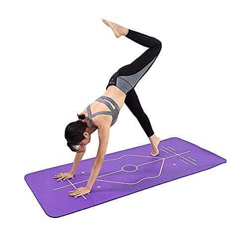 Alfombra de yoga para las mujeres 15mm EXTERSIZO MATS High NBR Densidad Espuma Materia Materia de entrenamiento antideslizante con sistema de alineación corporal Estera de aptitud para el gimnasio par