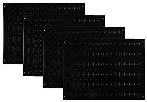 Pegboard Wall Organizer Tiles - Wall Control Modular Black Metal Pegboard Tiling Set - Four 12-Inch Tall x 16-Inch Wide Peg Board Panel Wall Storage Tiles - Easy to Install (Black)