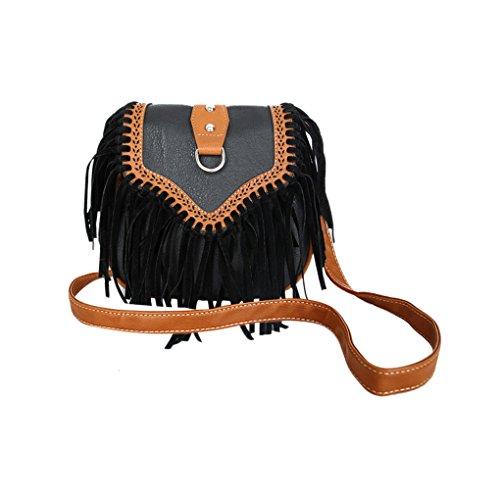 Troddelbeutel Damen Umhängetasche Schultertasche Leder PU Fashion Fransen Shopper Tasche für Handy und Geldbeute